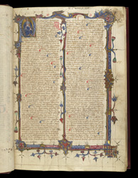 A King, And Illuminated Borders, In Ranulph Higden's 'Polychronicon'